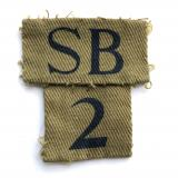SB / 2 scarce Scottish Border WW2 Home Guard combination formation sign.